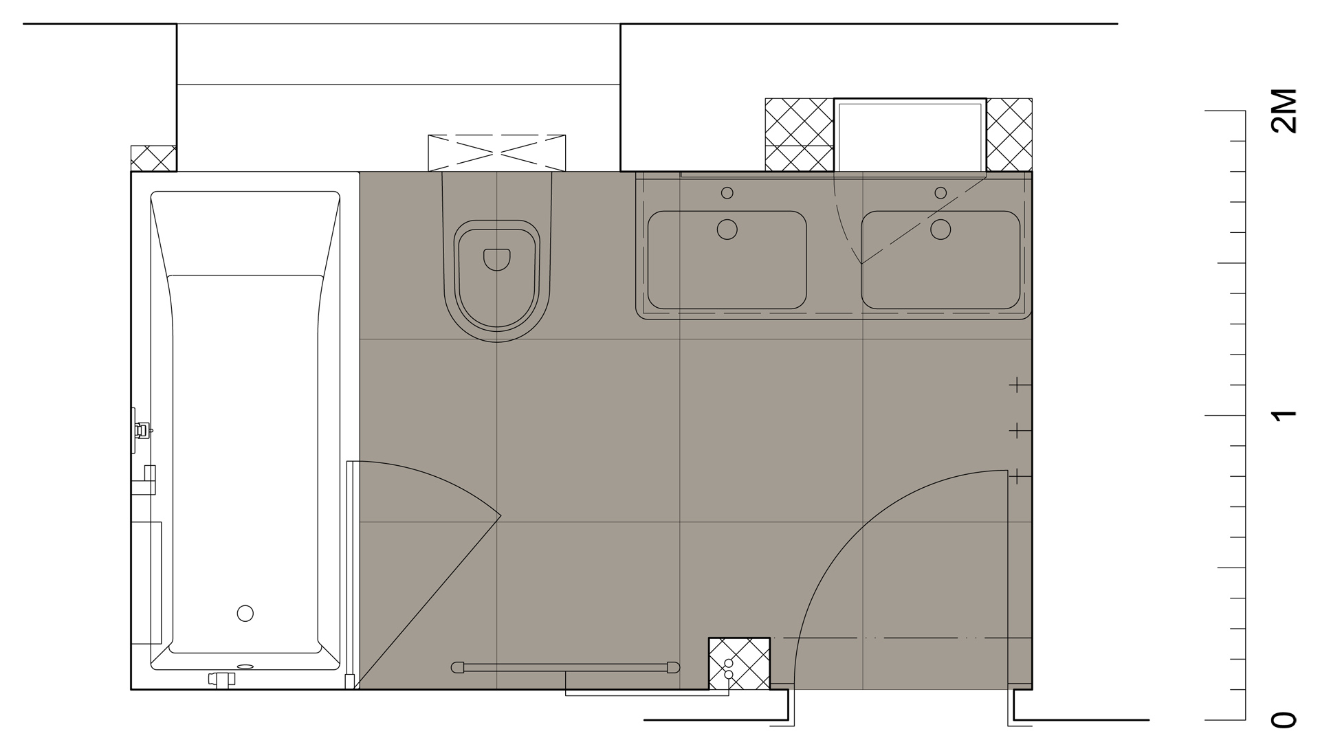 jak se staví sen - koupelna Beroun - půdorys