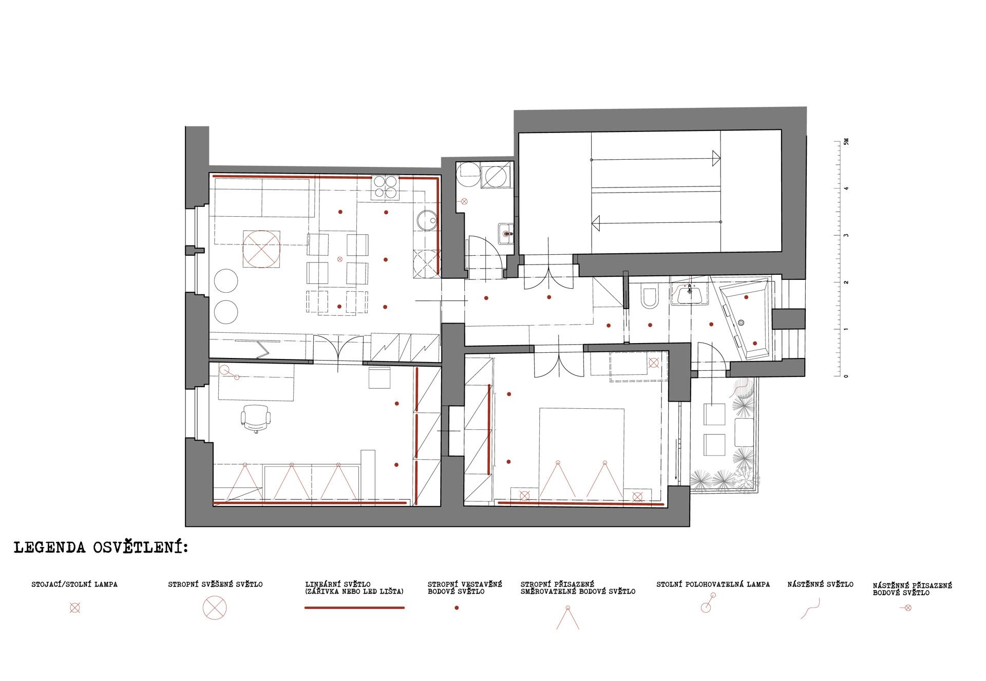 rekonstrukce bytu-Praha Břevnov - půdorys - návrh