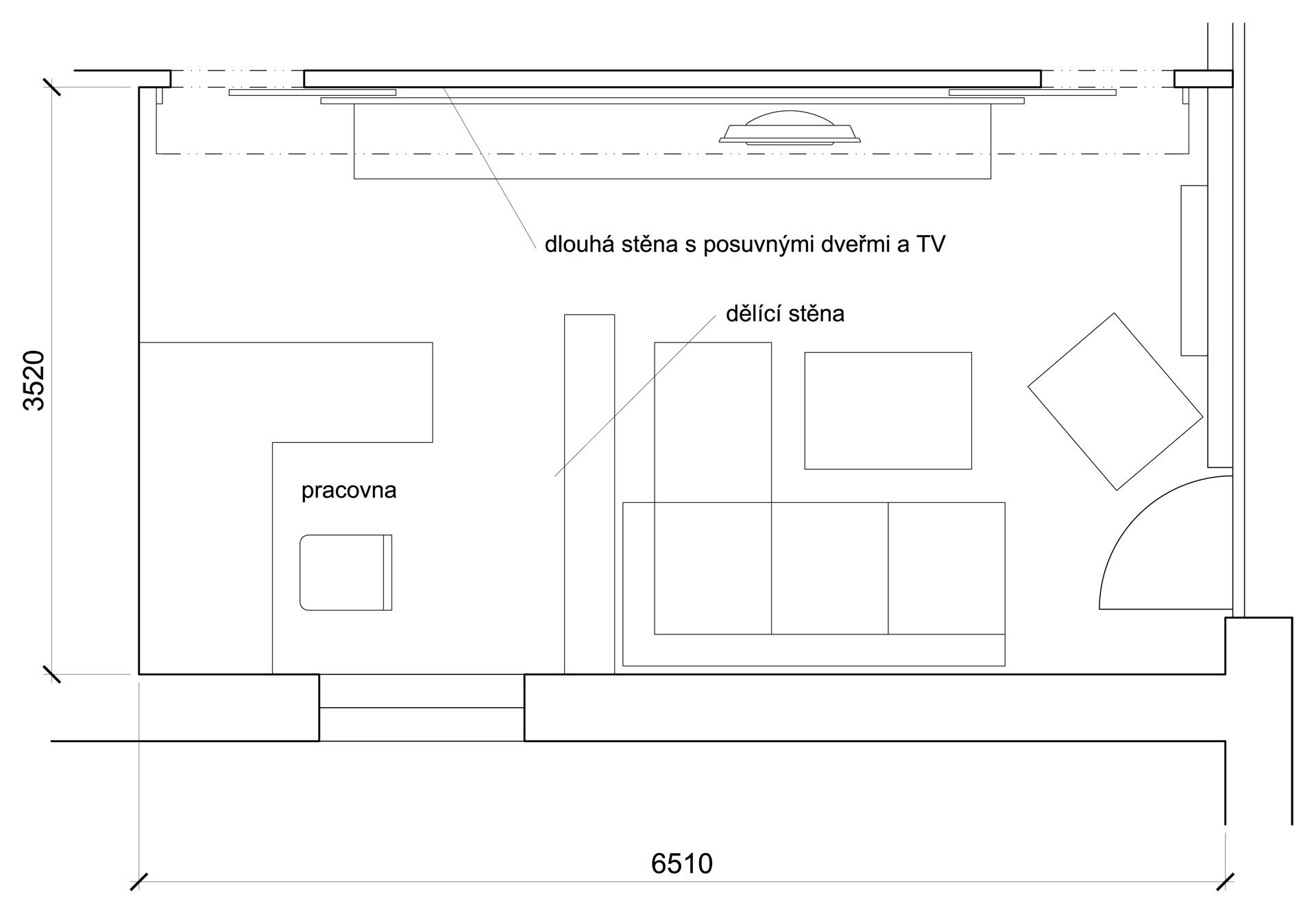 jak se staví sen - obývací pokoj s pracovním koutem půdorys