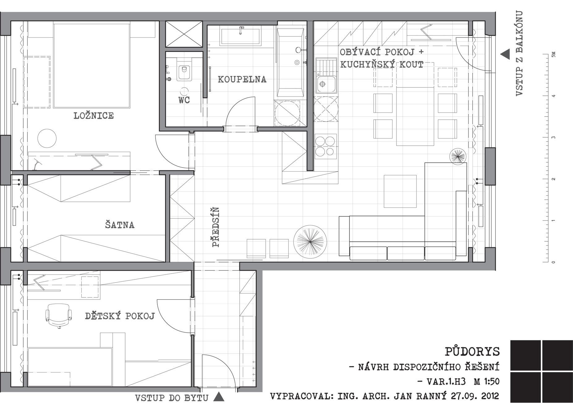 rekonstrukce panelového bytu - půdorys