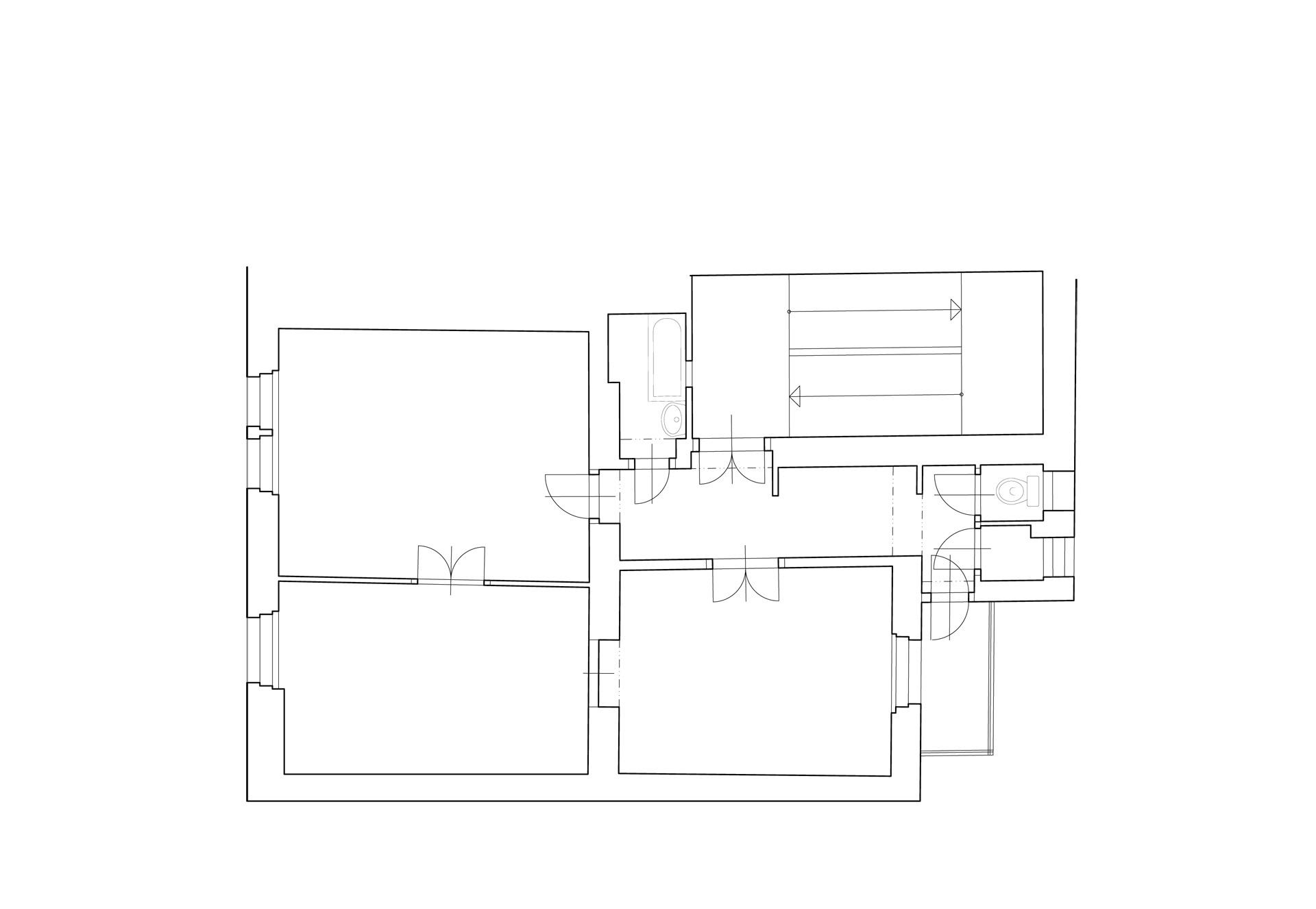 rekonstrukce bytu-Praha Břevnov - půdorys - původní stav
